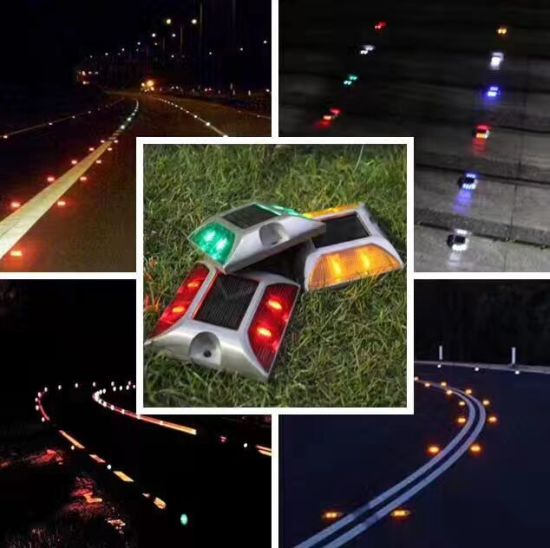 105*105*23mm Double Sides Cast Aluminum Alloy Reflect Light Solar Energy Traffic Curve Road Stud