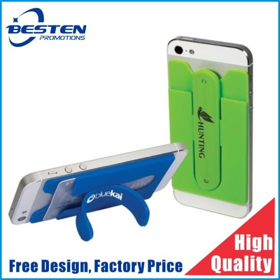 Hot 3m Silicone Wallet 3m Adhesive Silicone Smart Phone Pocket 3m Sticker Silicone Credit Card Holder with Stand