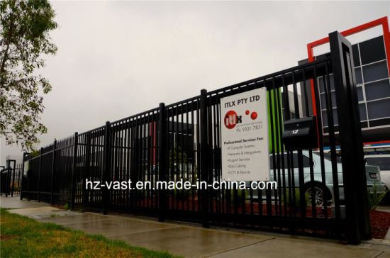 Haohan High-Quality Exterior Security Sliding Wrought Iron Fence Gate 1 pictures & photos