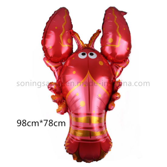 Dto0193 Mylar Lobster Balloon Helium Animals Balloon Foil Lobster Balloon for Party Decoration