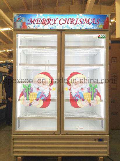 Supermarket Beverage Display Cooler with Double Glass Door Made in China pictures & photos