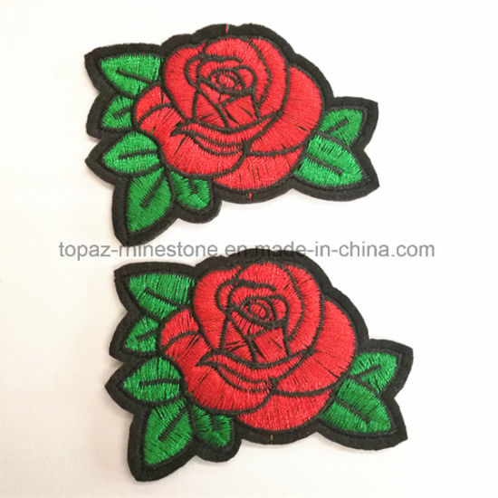China Rose Embroidered Flowers Embroidered Patches Embroidery ...