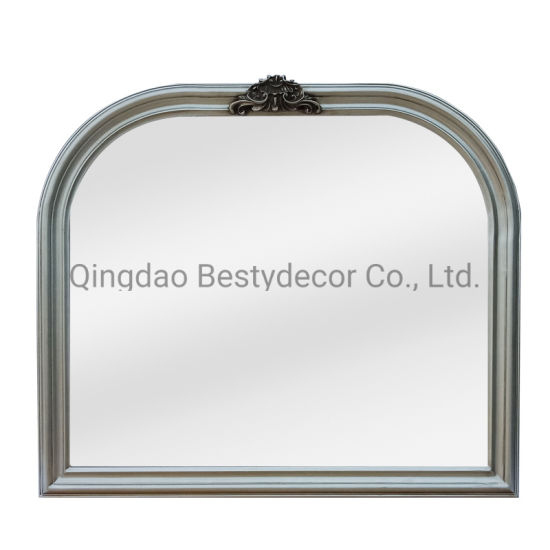 Hot Sale Decorative Hanging Wooden Frame Mirror, Antique Silver