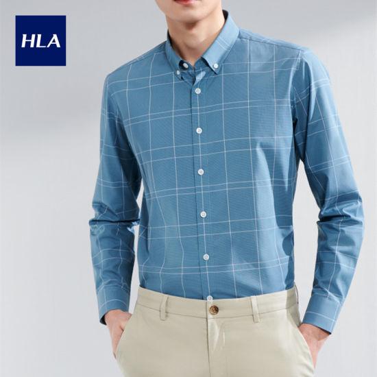 Hla Classic Check Long Sleeve Casual Shirt 2020 Spring New Skin Friendly Lightweight Long Lining Men