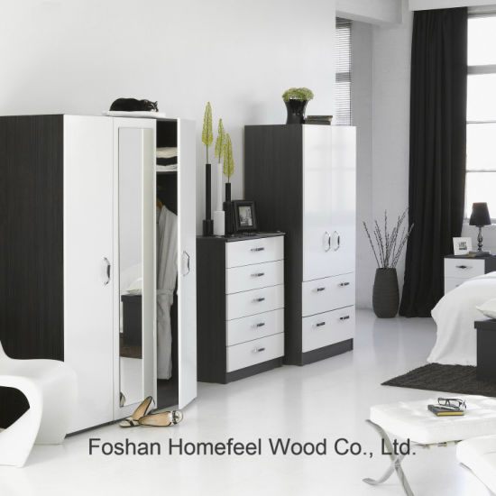 China 3 Piece High Gloss Bedroom Furniture Wardrobe Set ...