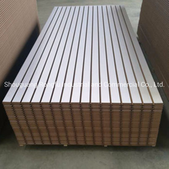 Factory Rectangle/Trapeziod/Ellipse Groove Melamine Slatwall Solt MDF Board with Aluminum Strips for Display Stand