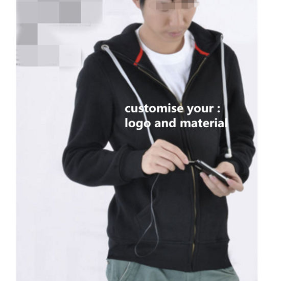6e897d6fa53 Wholesale Mens Blank Zip up Hoodies with Earphone Make in China Cotton  Factory Manufacturer in Guangzhou