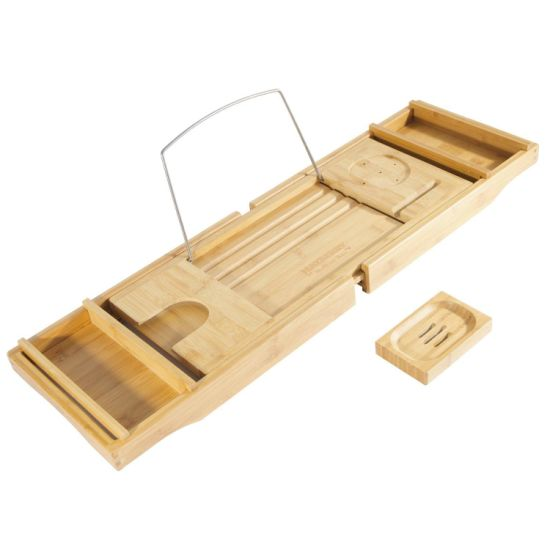 Bamboo Bathtub Caddy With Arms That Extend From 29.5 Up To 43 Inches,  Bathtub Tray, Large Wine Glass Holder, IPhone Slot, Collapsible Book And  IPad Holder