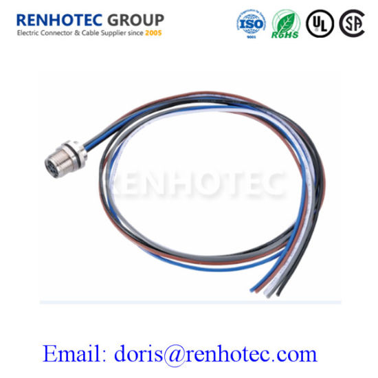 Circular Panel Mount Connector M8 6pin Female Receptacle with Solder Contacts