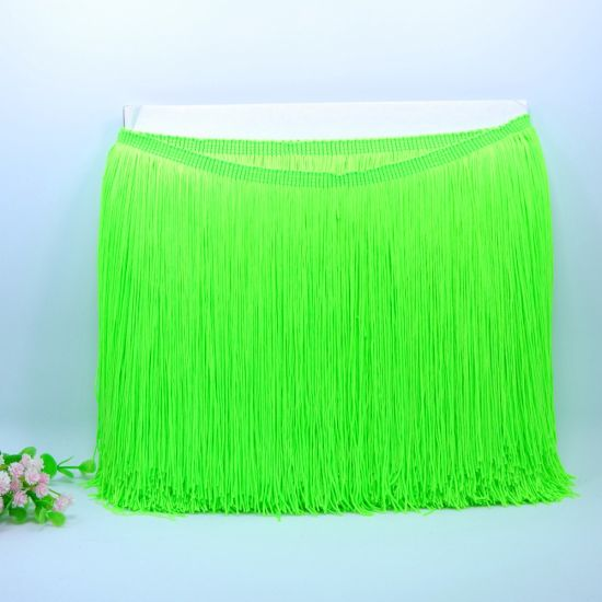 High Quality 30cm Rainbow Nylon Double Thread Fringe Tassel for Dancing Dress