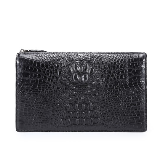 Men Genuine Leather Wallet Envelope Crocodile Business Clutch Bag