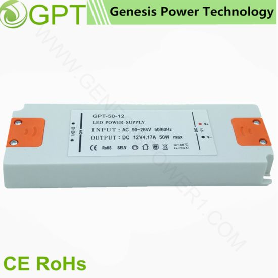 50W 12V Classic Indoor Ultrathin LED DC Power Driver SMPS, Single Output Transformer AC DC Converter Adapter SMPS Ce RoHS with Plassic Shell