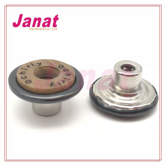 Resin Button Covered with Brass Cap Metal Shank Button