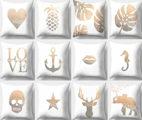 Gold Stamping Throw Pillow Covers Cases Soft Square Decorative Cushion Covers for Sofa, Couch