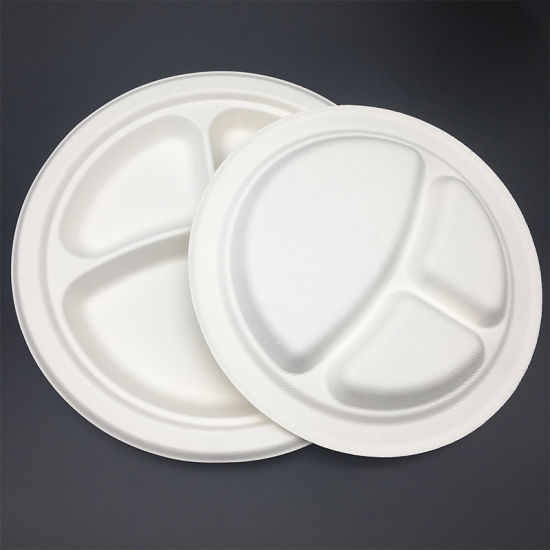 china 9 inch 3 compartment round eco friendly sugarcane trays plate