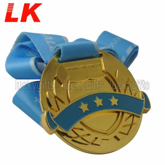 Cheap Craft Enamel Marathon Running Gold Award Souvenir Medal with Ribbon