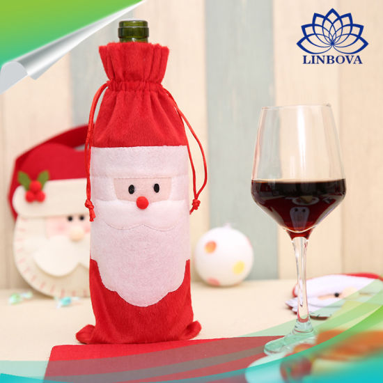 China Christmas Wine Bottle Decor Set Santa Claus Snowman Deer