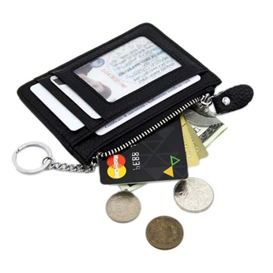Black Small PU Leather Wallet with Key Ring pictures & photos