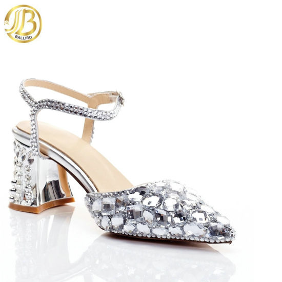 Crystal Sandals Buckle Strap Square Heels with Rhinestones Genuine Leather Wedding Shoes