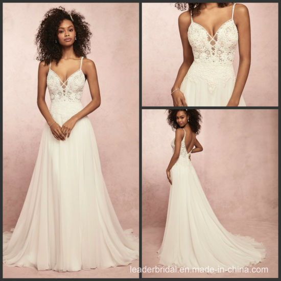 fb42bcd11e 2019 Bridal Formal Gown Chiffon Lace Top Beach Bridal Wedding Dress E17913  pictures & photos