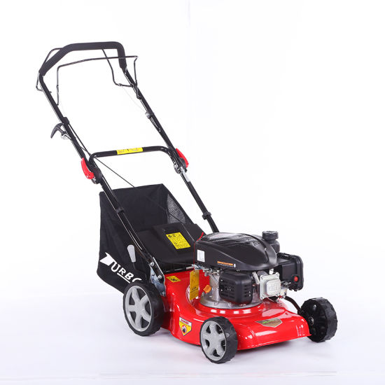 16 Inch Gasoline Hand Push Lawn Mower with Front Cutter