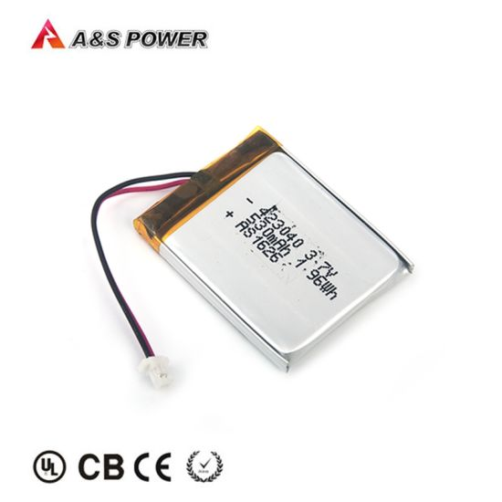 Rechargeable 3.7V Flat Lipo Battery UL1642/IEC/Kc 423040 530mAh Li Polymer Battery for Hearing Aid
