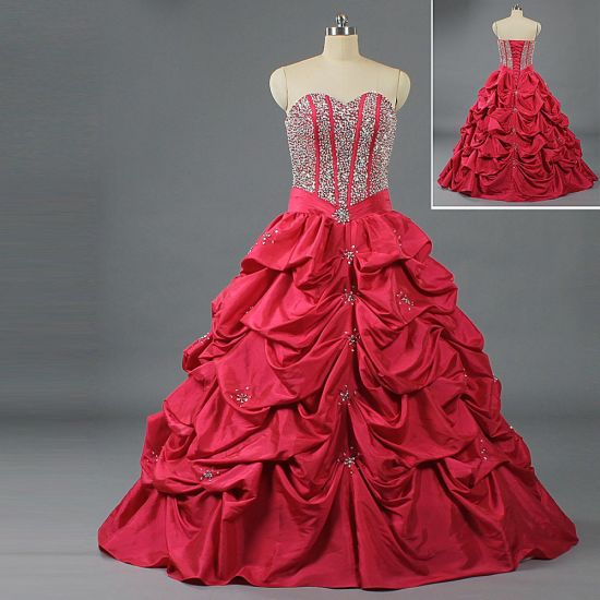E519 Wholesale Strapless Bead Taffeta Quinceanera Dresses for Sweet Girls