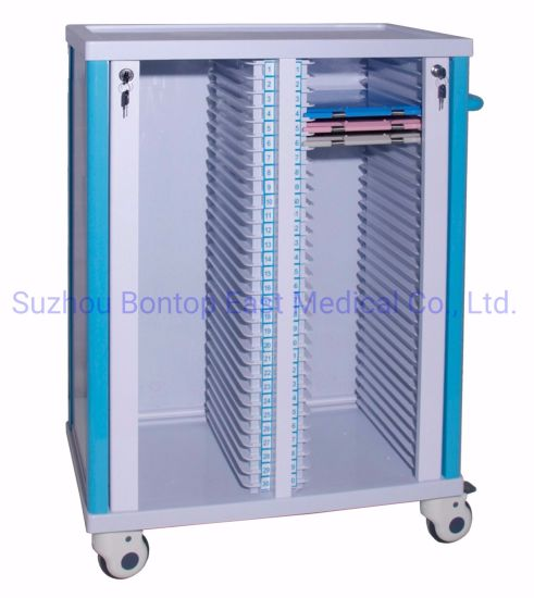 Two Rows Hospital ABS Patient Nursing Movable Plastic File Record Case History Folder Chart Holder Trolley/Cart