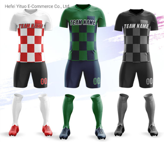 Full Customized Printing Moisture-Wicking Sleeved Soccer Jerseys Suits