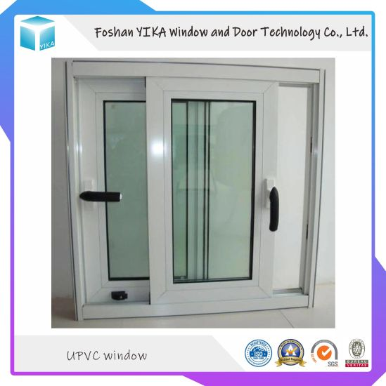 High Quality PVC/UPVC Sliding Window with Mosquito Net and Handle Lock