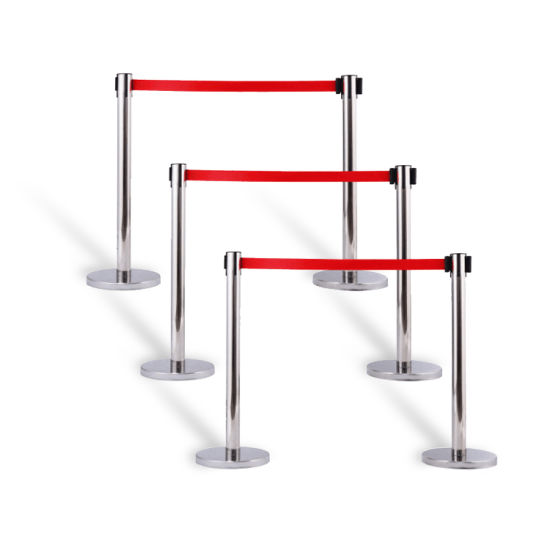 Crowd Control Retractable Belt Barriers and Red Carpet Poles Stanchion Queue Stands