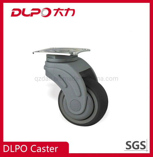 Dlpo 125mm Hospital Bed Elastic Wear Resistance TPR Wheel Caster with Plate