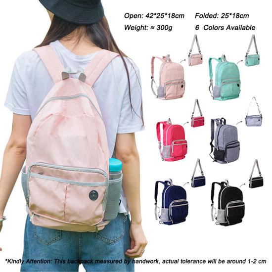Fashionable 6 Candy Colors Updated 2 in 1 Portable Lightweight Foldable Backpack School Shoulder Bag for Teenagers with Security Pocket for Wholesale