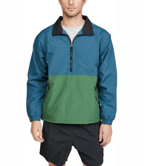 Wholesale Custom Hooded Colorblock Sleeve Half Zipper Pullover Nylon Jackets Windbreak for Men