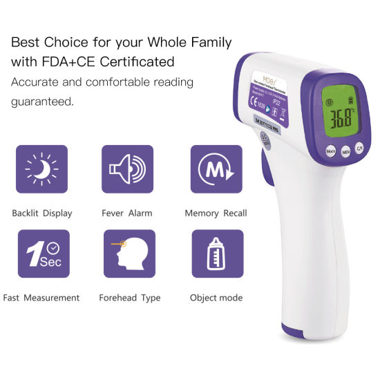 Adult Kids FDA Approved Medical Infrared No Touch Thermometer for Baby Water with LED Display Digital Forehead Thermometer for Fever with Object Function