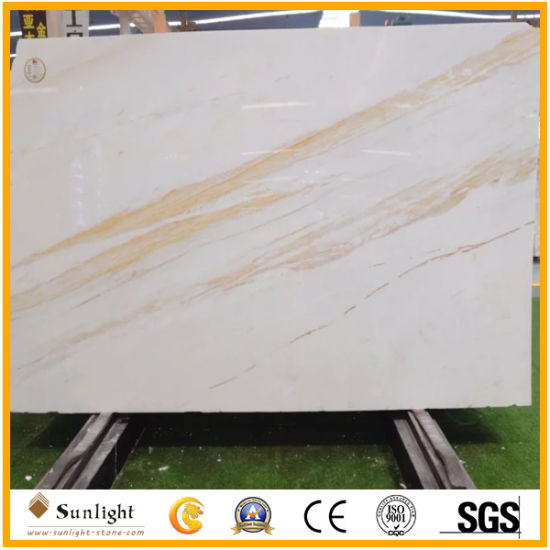 Natural Popular Gold Veins Ariston White Marble with Golden Veins for Slabs