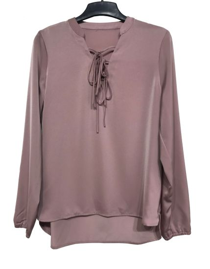 Silk Ladies Blouse with Front Tie and Long Sleeve