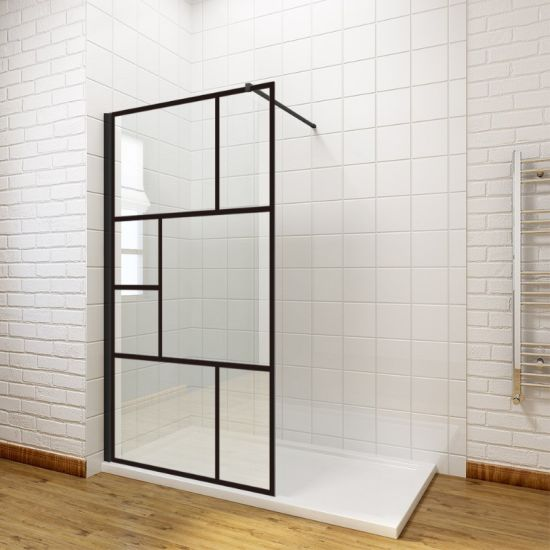 China Diy Style Black Walk In Shower Enclosure Wet Room Shower Door Screen Panel 8mm Easy Clean Glass With Support Bar China Diy Style Shower Door Screen Frameless Black Walk In Shower Enclosure