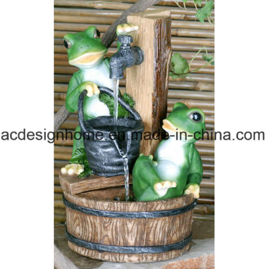 Best Sellers Unique Funny Fancy Decorative Indoor Table Top Polystone Resin  Frogs Water Fountain With LED Light For Home Decor