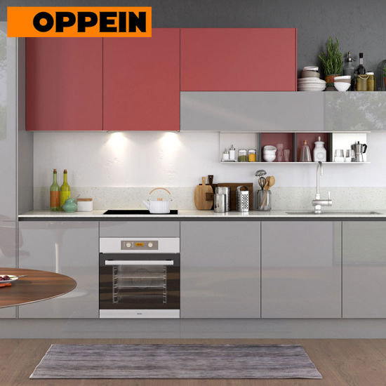 360cm Width Standard Red and Grey High Gloss Kitchen Cabinet (OP17-A01)