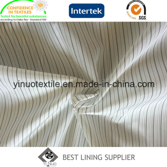 Polyester Black White Yarn Dyed Striped Long Sleeve Lining Fabric
