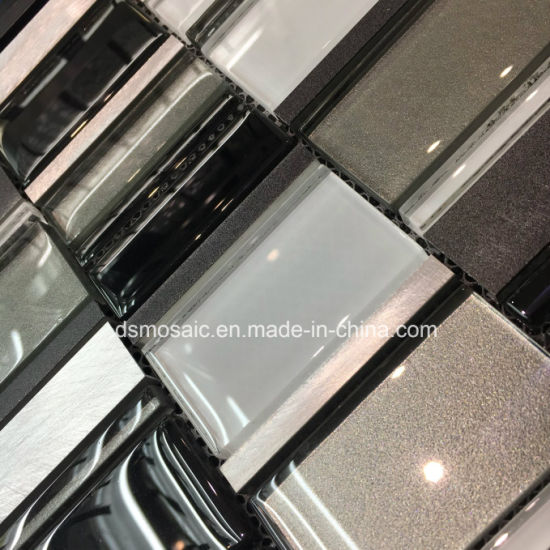 Classicail Black and White Glass and Stainless Mosaic Tile pictures & photos