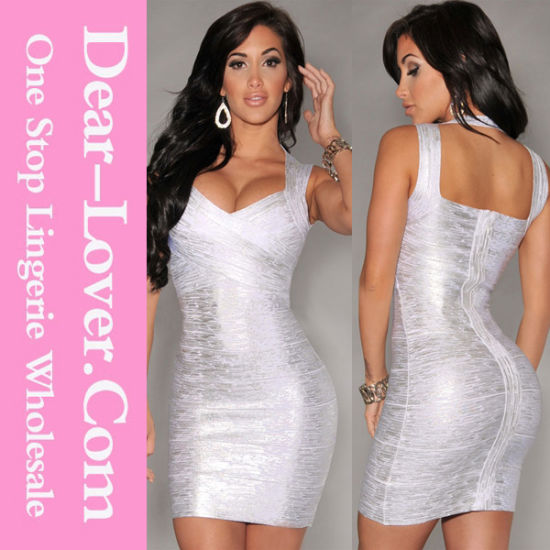 New Fashion Silver Foil Print Cheap Bodycon Club Bandage Dress
