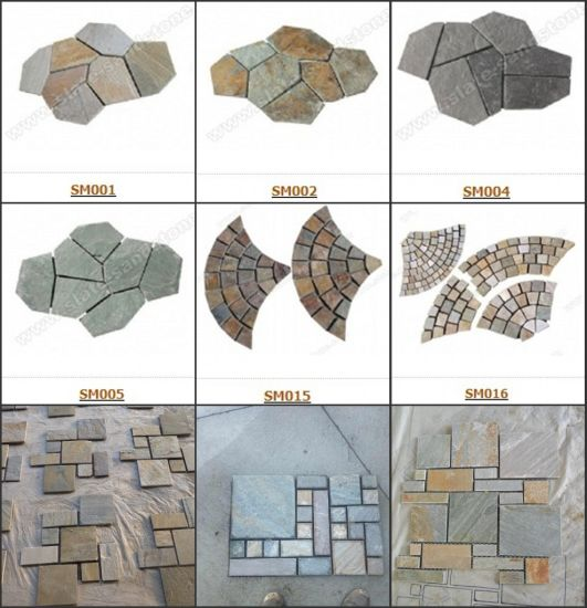 Back Mesh Slate Tile-Iregular Slate Crazy Paving Flagstone