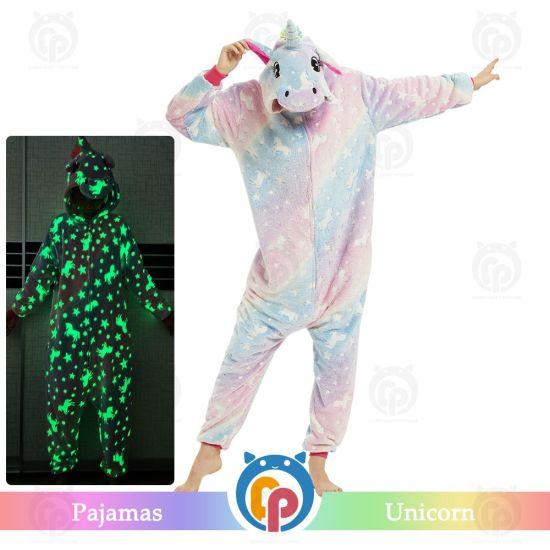 2020 New Amazing Winter Flannel Lumious Unicorn Family Party Costume/Pajamas