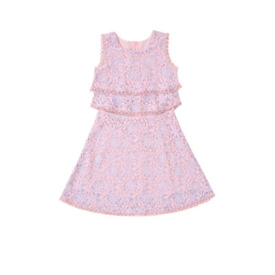 Teenage Girls Princess Dress Summer Lace Pink Kids Dresses Teens Clothes Knee Length Dress Children Outfit Casual Wear Party Wear Esg14112 China Dress And Teens Dress Price Made In China Com