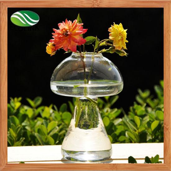 China Mushroom Shape Crystal Glass Vase For Ornament Decoration Eb