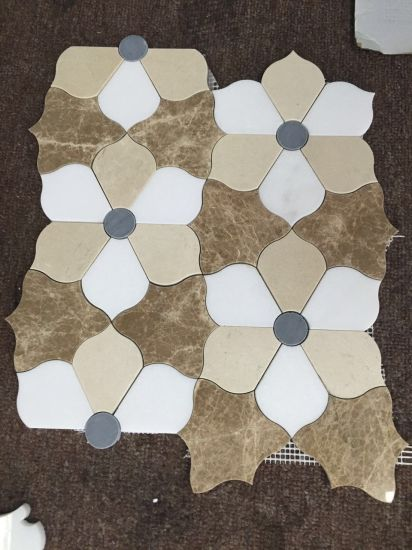 Mixed Marble Flower Design Water Jet Cut Mosaic Tile