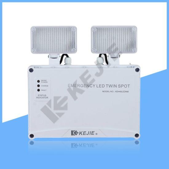 2020 Kejie Self-Testing LED Emergency Twin Spot Light IP65 Emergency Light