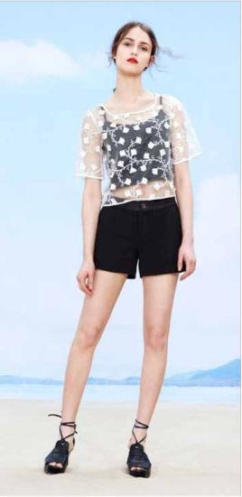 Wholesale Stock Chiffon White Floral Pattern Half Sleeve T-Shirt